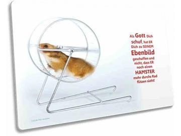Christliche Postkarte: Hamster im Hamsterrad