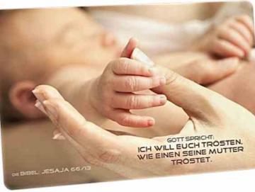 Christliche Postkarte: Hände -  Jesaja 66,13