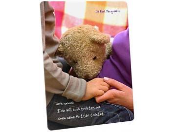 Christliche Postkarte: Trost mit Teddybär - Jesaja 66,13