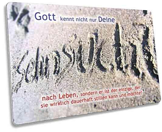 Christliche Postkarte: Das Wort Sehnsucht in Sand geschrieben