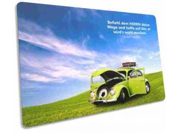 Christliche Karte: Grüner VW Käfer - Psalm 37,5