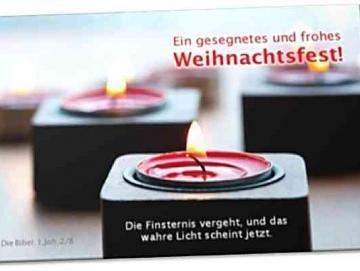 Christliche Weihnachtskarte: Moderne Teelichter
