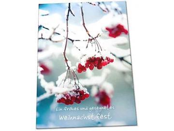 Christliche Weihnachtskarte: Rote Beeren