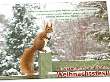 Christliche Weihnachtskarte: Eichhörnchen