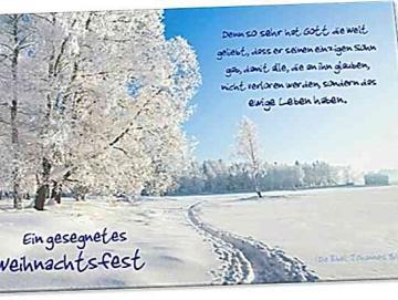 Christliche Weihnachtskarte : Verschneite Winterlandschaft