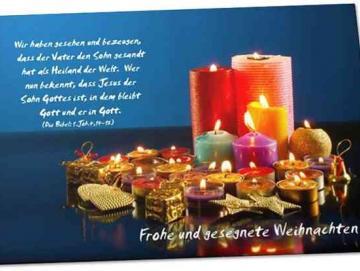Christliche Weihnachtskarte - Motiv: Kerzensammlung