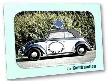 Konfirmationskarte, christliche: Käfer Cabrio Oldtimer