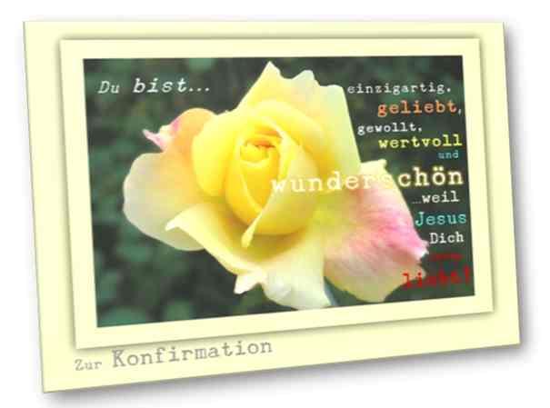 Christliche Konfirmationskarte - Gelbe Rose