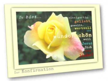 Christliche Konfirmationskarte - Gelbe Rose