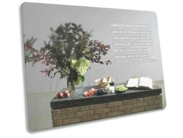Christliche Postkarte - Erntedank: Geschmückter Altar