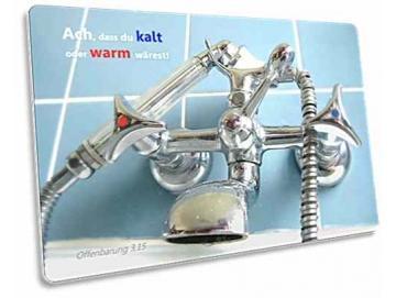 Christliche Postkarte: Altmodische Badewannen-Armatur