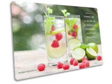 Christliche Postkarte: Limonadengläser - Mit Bibelvers Matthäus 11,28