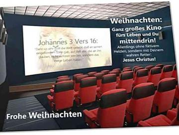 Christliche Weihnachtskarte - Modern mit Bibelvers - Motiv: Kino