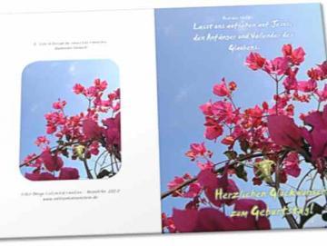 Christliche Geburtstagskarte: Blühender Strauch