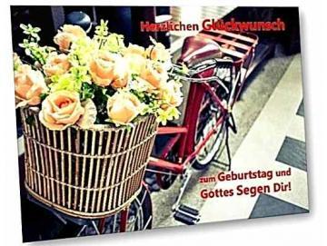 Geburtstagskarte: Blumenstrauß im Fahrradkorb - Vintage Style