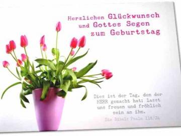 Christliche Geburtstagskarte: Vase mit Tulpen