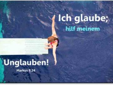 Jahreslosung 2020 Klappkarte: Turmspringerin- Jahreslosungskarte