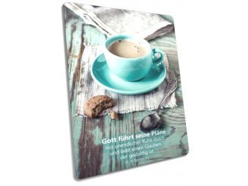 Christliche Postkarte Motiv: Tasse mit frisch gebrühtem Kaffee