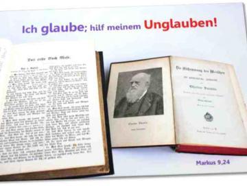 Poster Jahreslosung 2020: Alte Bibel und Darwin-Buch - Plakat DIN A 3 ✅