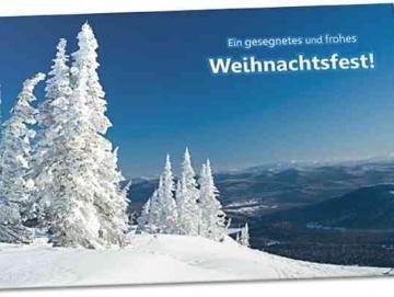 Christliche Weihnachtskarte - Schneebedeckte Tannen
