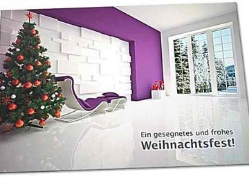 Christliche Weihnachtskarte: Modernes Wohnzimmer