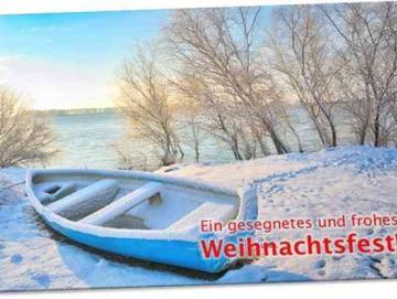 Christliche Weihnachtskarte: Ruderboot - 2. Kor. 5,19