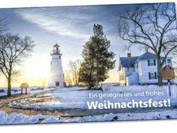 Christliche Weihnachtskarte : Leuchtturm neben alter Villa