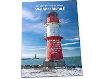 Christliche Weihnachtskarte: Leuchtturm Warnemünde
