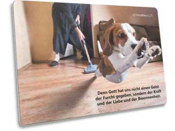 Christliche Postkarte Motiv: Flüchtender Hund