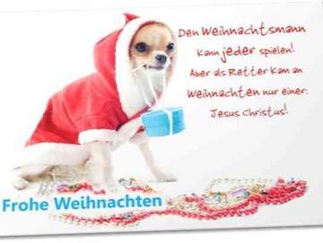 Christliche Weihnachtskarte: Hündchen im Roten Mantel