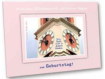 Faltkarte zum Geburtstag, christlich: Kirchturmuhren
