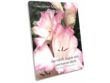 Christliche Glückwunschkarte: Gladiolenblüten