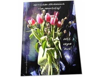 Christliche Geburtstagskarte: Tulpenstrauß