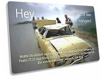 Christliche Postkarte: Zerknitterter Ford - Zur Ermutigung