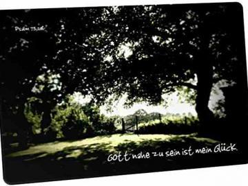 Christliche Postkarte: Verträumter Garten - Psalm 73,28