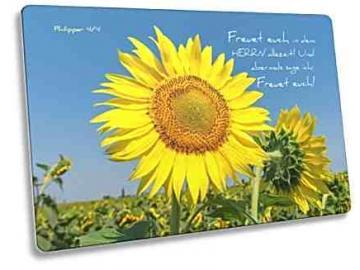 Christliche Postkarte Motiv: Sonnenblume - Bibelvers: Philipper 4,4