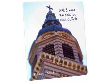 Christliche Postkarte: Kirchturmspitze im Gegenlicht - 73,28