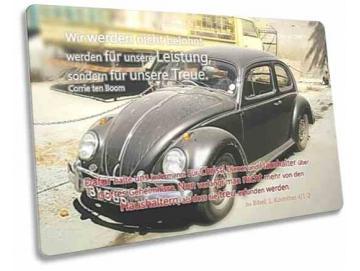 Christliche Postkarte mit Oldtimer - VW Käfer