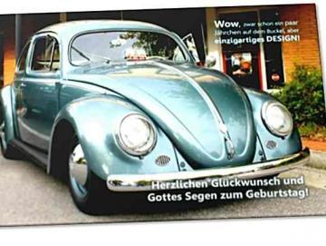 Christliche Geburtstagskarte: Volkswagen Käfer mit Ovalfenster