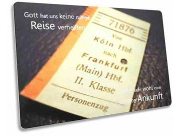 Christliche Postkarte - Ermutigung: Nostalgische Fahrkarte