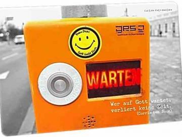 Christliche Postkarte: Ampeldrücker mit Smiley