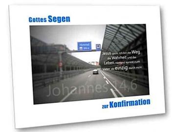 Christliche Konfirmationskarte: Autobahnszene mit Schilderbrücke