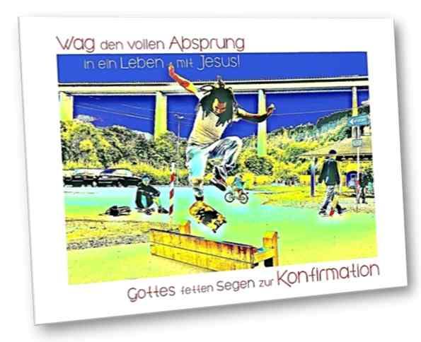 Christliche Konfirmationskarte: Skater Ricky