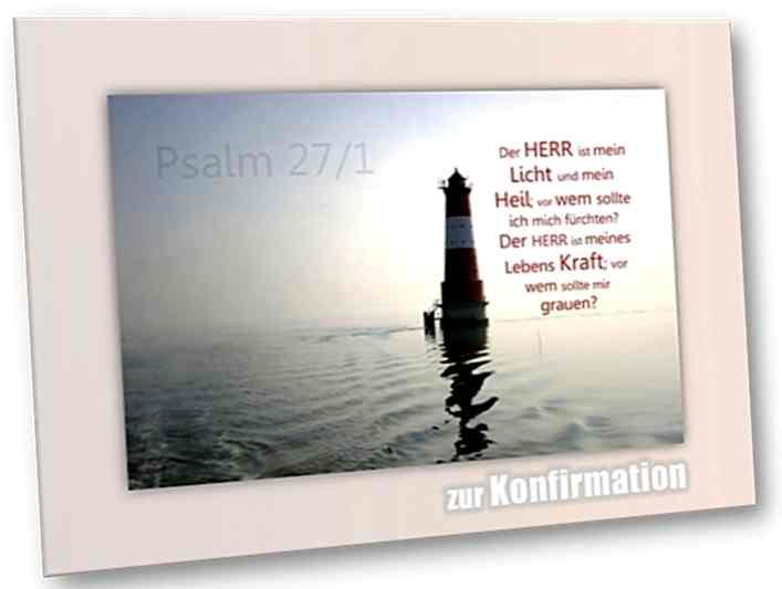 Christliche Konfirmationskarte: Arngaster Leuchtturm im Gegenlicht -Psalm 27,1