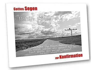 Christliche Konfirmationskarte: Feldweg und Flughafenbefeuerung