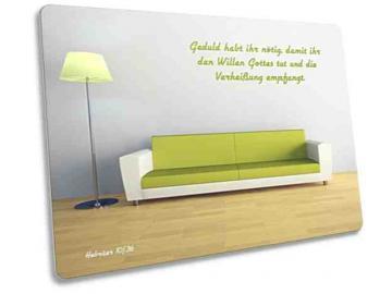 Christliche Karte: Grünes Sofa - Bibelvers: Hebräer 10,36