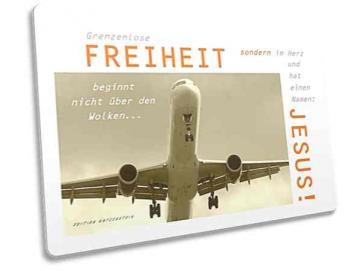Christliche Postkarte: Flugzeug im Landeanflug