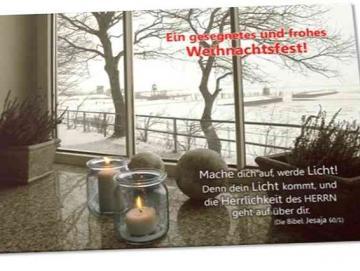 Christliche Weihnachtskarte: Winterfenster
