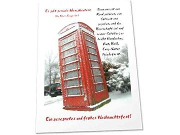 Christliche Weihnachtskarte: Vereiste britische Telefonzelle