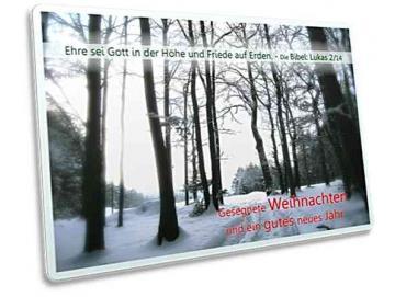 Christliche Weihnachtskarte - Postkarte: Waldlichtung im Gegenlicht